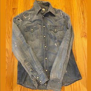 Distressed True Religion Jean Shirt